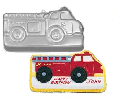 Fire Truck Birthday Cake and Cupcakes