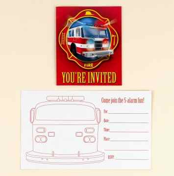 Fire Truck Party Invitations