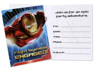 ironman party invitation